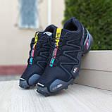 Чоловічі кросівки в стилі Salomon SpeedСross 3 чорні з сірою написом, фото 6