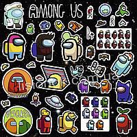 Набор наклеек Among Us с героями любимой игры Амонг Ас, стикеры