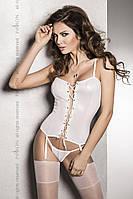 Корсет под латекс с пажами BES CORSET white L/XL - Passion Exclusive, стринги, шнуровка