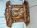 Б/У Иисус Христос резная икона с подсвечниками 50х50 см, фото 5