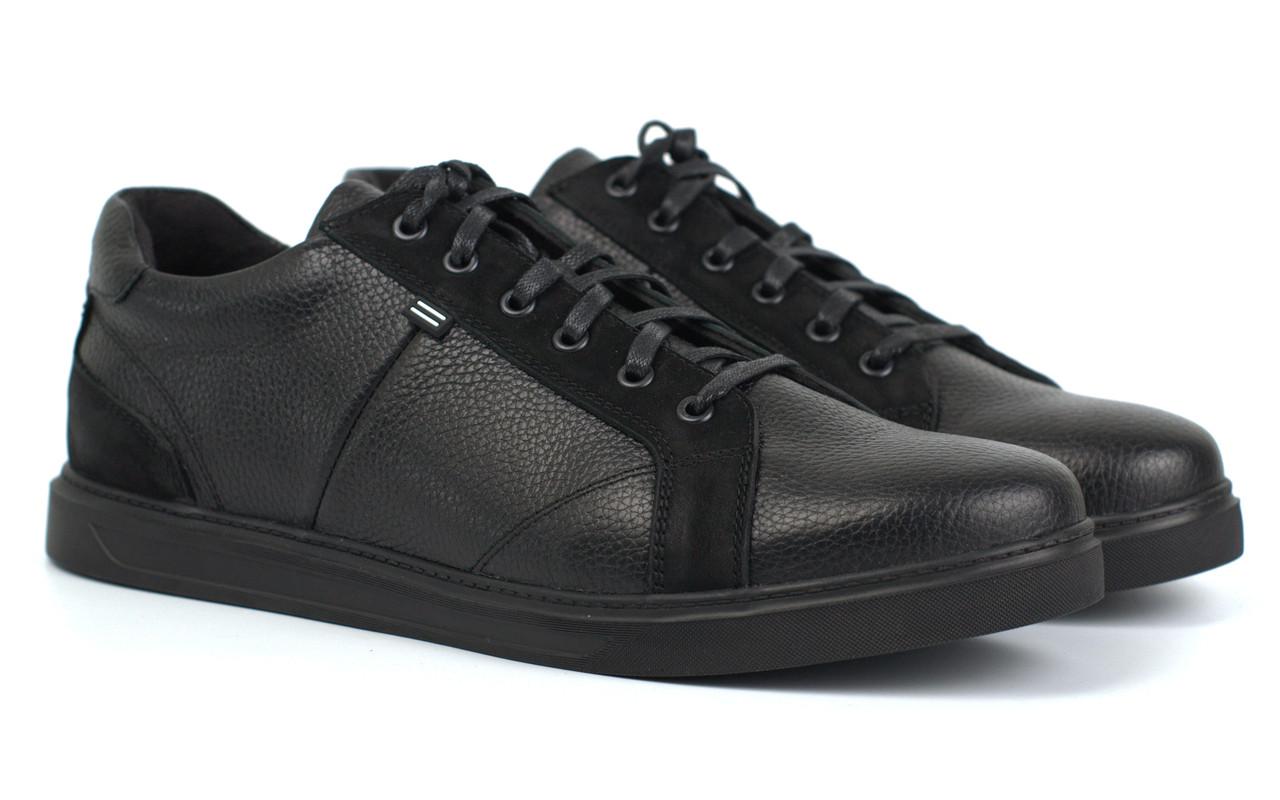 Взуття великих розмірів чоловічі шкіряні кросівки чорні кеди Rosso Avangard Puran Black Floto BS