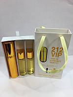 Подарочный парфюмерный набор с феромонами женский Carolina Herrera 212 VIP (Каролина Херрера 212 ВИП) 3x15 мл