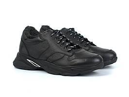 Кроссовки зимние на меху теплые кожаные мужская обувь больших размеров Rosso Avangard Winter ReBaKa Black BS