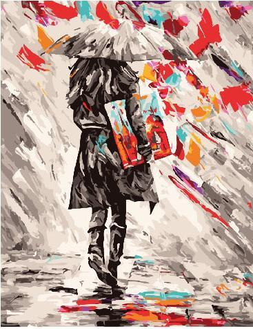 Картина рисование по номерам Brushme Иду под зонтом GX25784 40х50см набор для росписи, краски, кисти холст