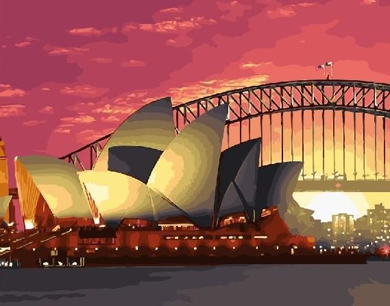 Картина рисование по номерам Brushme Сиднейская опера GX28781 40х50см набор для росписи, краски, кисти холст