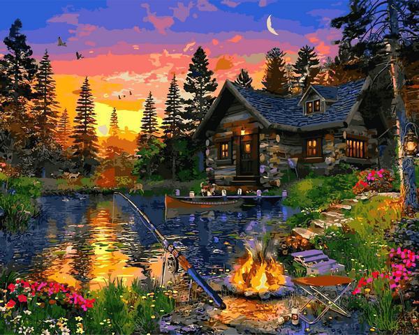 Картина рисование по номерам Babylon Вечерняя рыбалка VP1285 40х50см набор для росписи, краски, кисти, холст