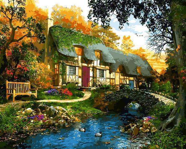 Картина рисование по номерам Babylon Дом у пруда VP1286 40х50см набор для росписи, краски, кисти, холст