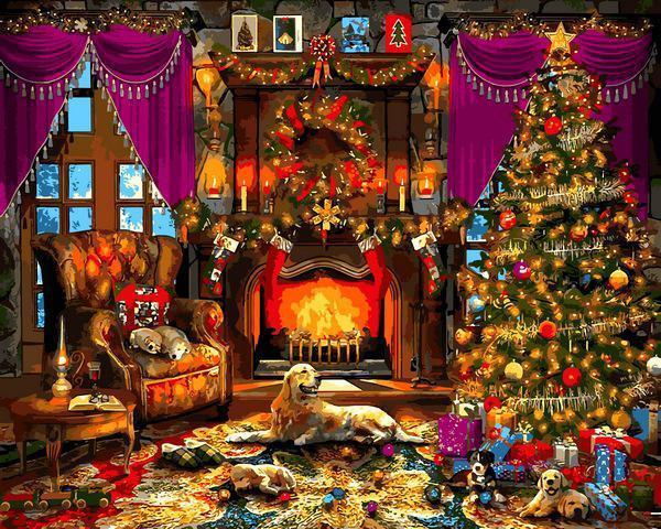 Картина рисование по номерам Babylon Рождественская елка VP1271 40х50см набор для росписи, краски, кисти,