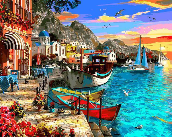 Картина рисование по номерам Babylon Город на берегу моря VP1280 40х50см набор для росписи, краски, кисти,