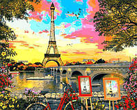 Картина рисование по номерам Babylon Закат в Париже VP1281 40х50см набор для росписи, краски, кисти, холст, фото 1