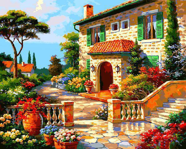 Картина рисование по номерам Babylon Вилла в цветах VP1296 40х50см набор для росписи, краски, кисти, холст