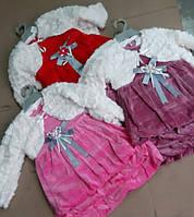 Плаття для дівчаток на вік 1,2,3 роки у сірому та червоному кольорах