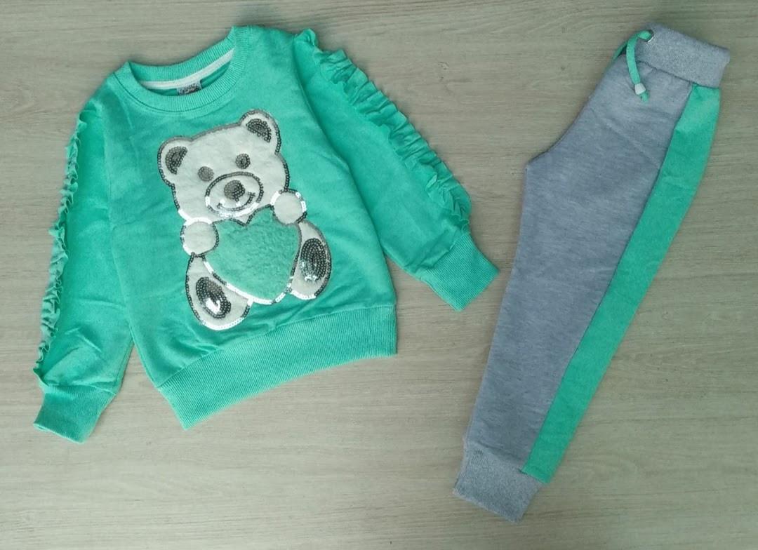 Костюмчики для дівчаток із ведмедиком у бірюзовому кольорі на вік 2-3,3-4,4-5,5-6,6-7,7-8