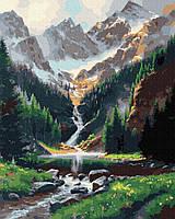 Картина рисование по номерам Brushme Горный водопад GX36003 40х50см набор для росписи, краски, кисти холст