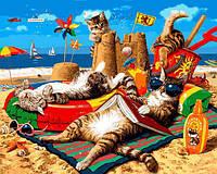 Картина рисование по номерам Babylon Cемья котов на море VP1317 40х50см набор для росписи, краски, кисти,, фото 1