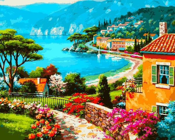 Картина рисование по номерам Babylon Вид на берег VP1297 40х50см набор для росписи, краски, кисти, холст