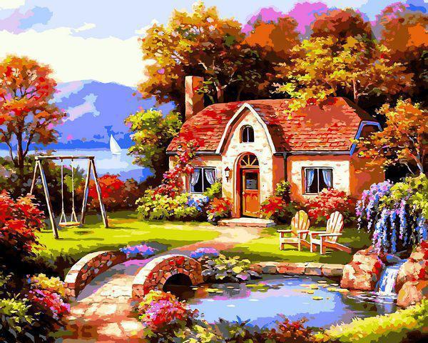 Картина рисование по номерам Babylon Сказочный домик VP1299 40х50см набор для росписи, краски, кисти, холст