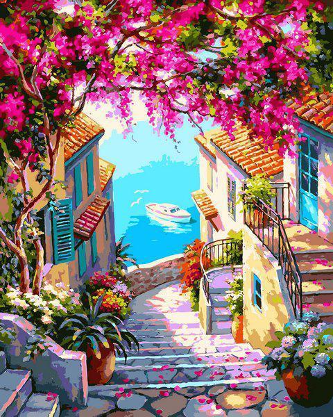 Картина рисование по номерам Babylon Лестница к морю VP1307 40х50см набор для росписи, краски, кисти, холст
