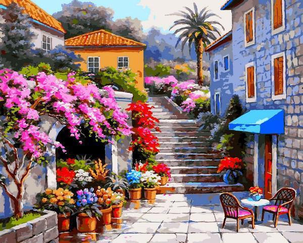 Картина рисование по номерам Babylon Цветочный магазин VP1300 40х50см набор для росписи, краски, кисти, холст