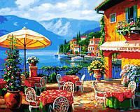 Картина рисование по номерам Babylon Кафе на озере VP1295 40х50см набор для росписи, краски, кисти, холст, фото 1