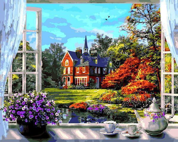 Картина рисование по номерам Babylon Окно в весну VP1273 40х50см набор для росписи, краски, кисти, холст