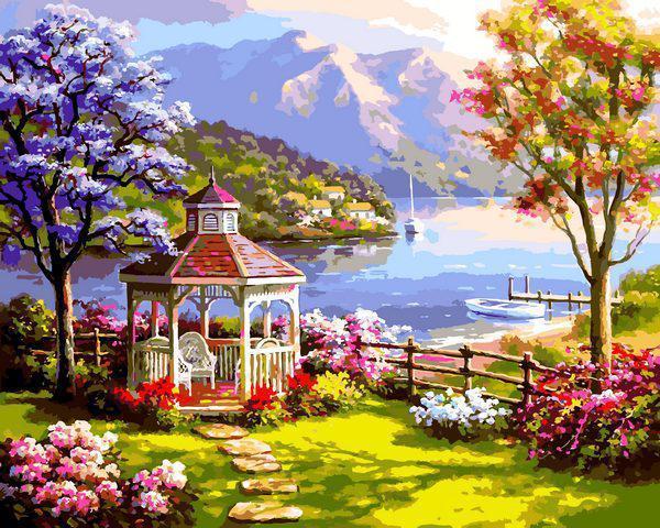 Картина рисование по номерам Babylon Беседка у озера VP1302 40х50см набор для росписи, краски, кисти, холст