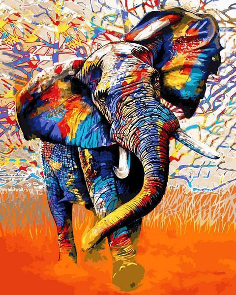 Картина рисование по номерам Babylon Красочный слон VP1341 40х50см набор для росписи, краски, кисти, холст