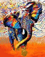 Картина рисование по номерам Babylon Красочный слон VP1341 40х50см набор для росписи, краски, кисти, холст, фото 1
