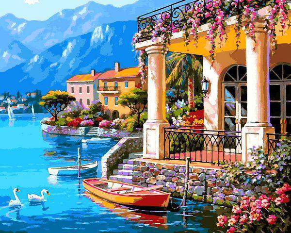 Картина рисование по номерам Babylon Лодка у дома VP1303 40х50см набор для росписи, краски, кисти, холст