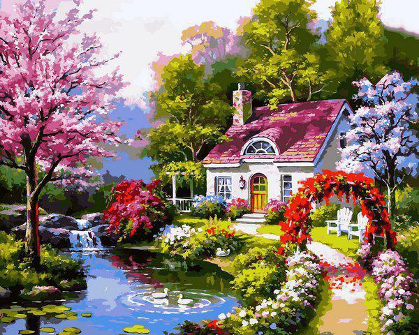 Картина рисование по номерам Babylon Весенний коттедж VP1306 40х50см набор для росписи, краски, кисти, холст