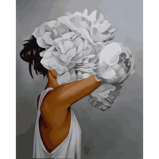 Картина рисование по номерам Mariposa Женщина в пионах Q2235 40х50см набор для росписи, краски, кисти, холст