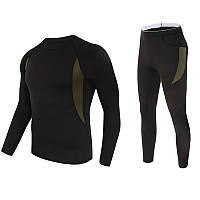 Термобелье мужское Lesko A152 3XL Black термокомплект функциональное белье для мужчин флисовый ветрозащитный