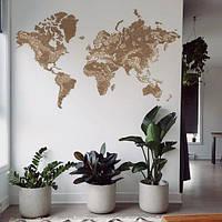 Деревянная карта мира на стену из дерева - Настенная - Декоративная - Подарок