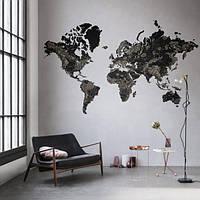 Дерев'яна карта світу на стіну з дерева - Одношарова/Настінний/Декоративна