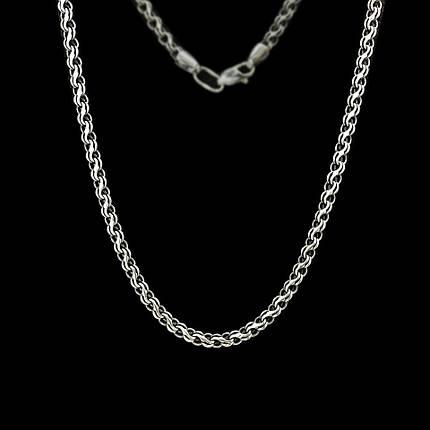 Срібна ланцюжок, 600мм, 10 грам, плетіння Струмок, чорніння, фото 2