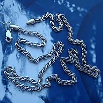 Срібна ланцюжок, 600мм, 10 грам, плетіння Струмок, чорніння, фото 3