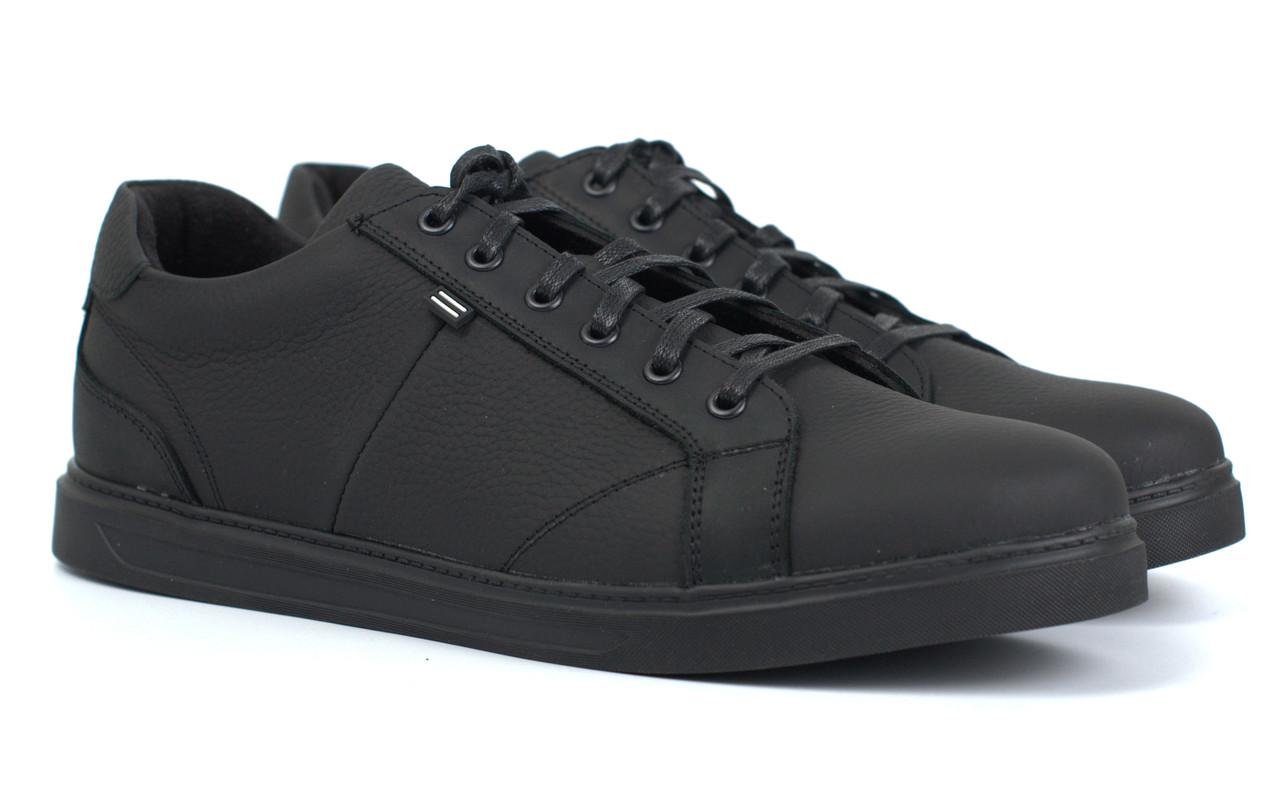 Мужские кроссовки кожаные черные кеды обувь больших размеров Rosso Avangard Puran Mate Monza Black BS