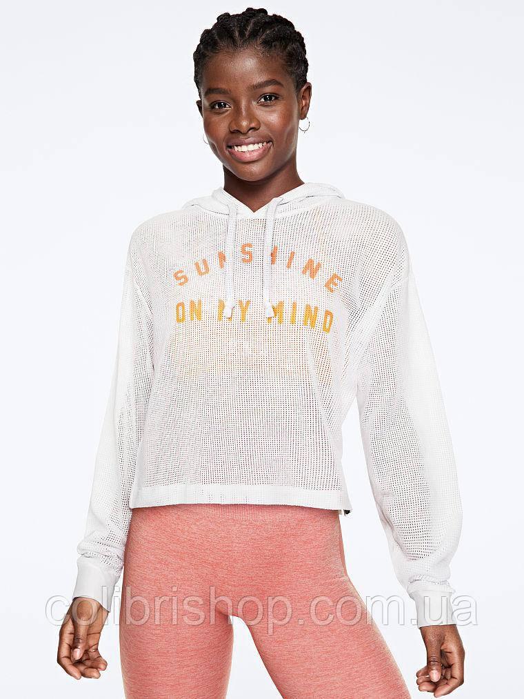 Женский белый пуловер в сетку PINK Victoria's Secret