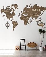 Деревянная карта мира на стену из дерева - Однослойная/Настенная/Декоративная - Светлый орех