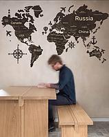 Деревянная карта мира на стену из дерева - Однослойная - Настенная - Декоративная - Темный орех