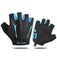 Перчатки велосипедные West Biking 0211190 XL Blue без пальцев спортивные беспалые велоперчатки