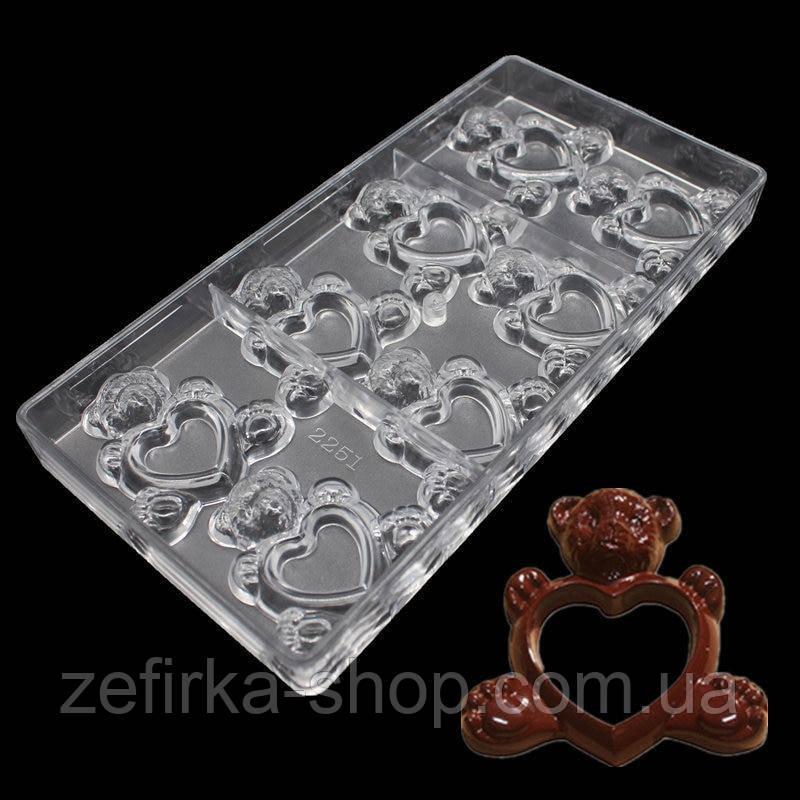 Поликарбонатная форма для конфет Мишка с сердцем,  8 ячеек