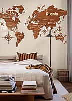 Деревянная карта мира на стену из дерева - Однослойная/Настенная/Декоративная - Коричневый