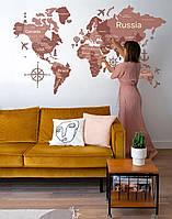 Деревянная карта мира на стену из дерева - Однослойная - Настенная - Декоративная - Розовый