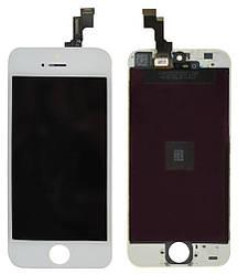 Дисплей для iPhone 5S білий (LCD екран, тачскрін, скло в зборі), Дисплей для iPhone 5S білий (LCD екран,