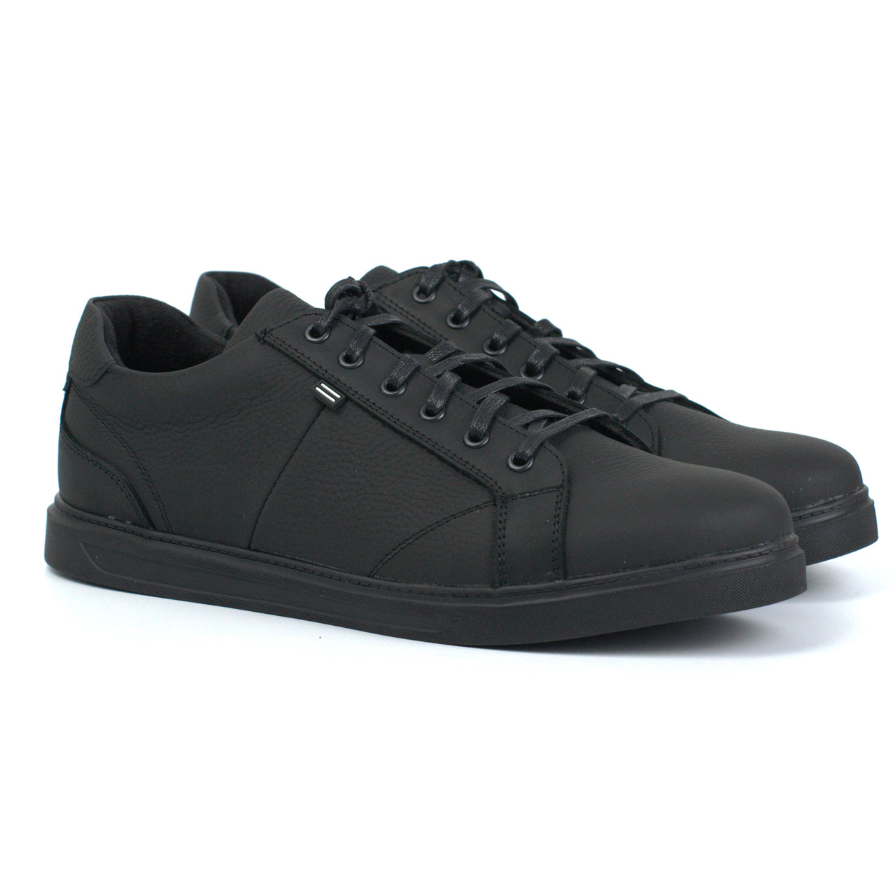 Мужские кроссовки кожаные матово-черные кеды обувь демисезонная Rosso Avangard Puran Mate Monza Black