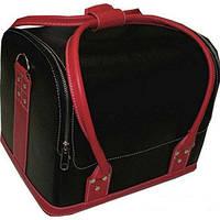 Бьюти-кейс 2700-1B (черный с красными ручками)