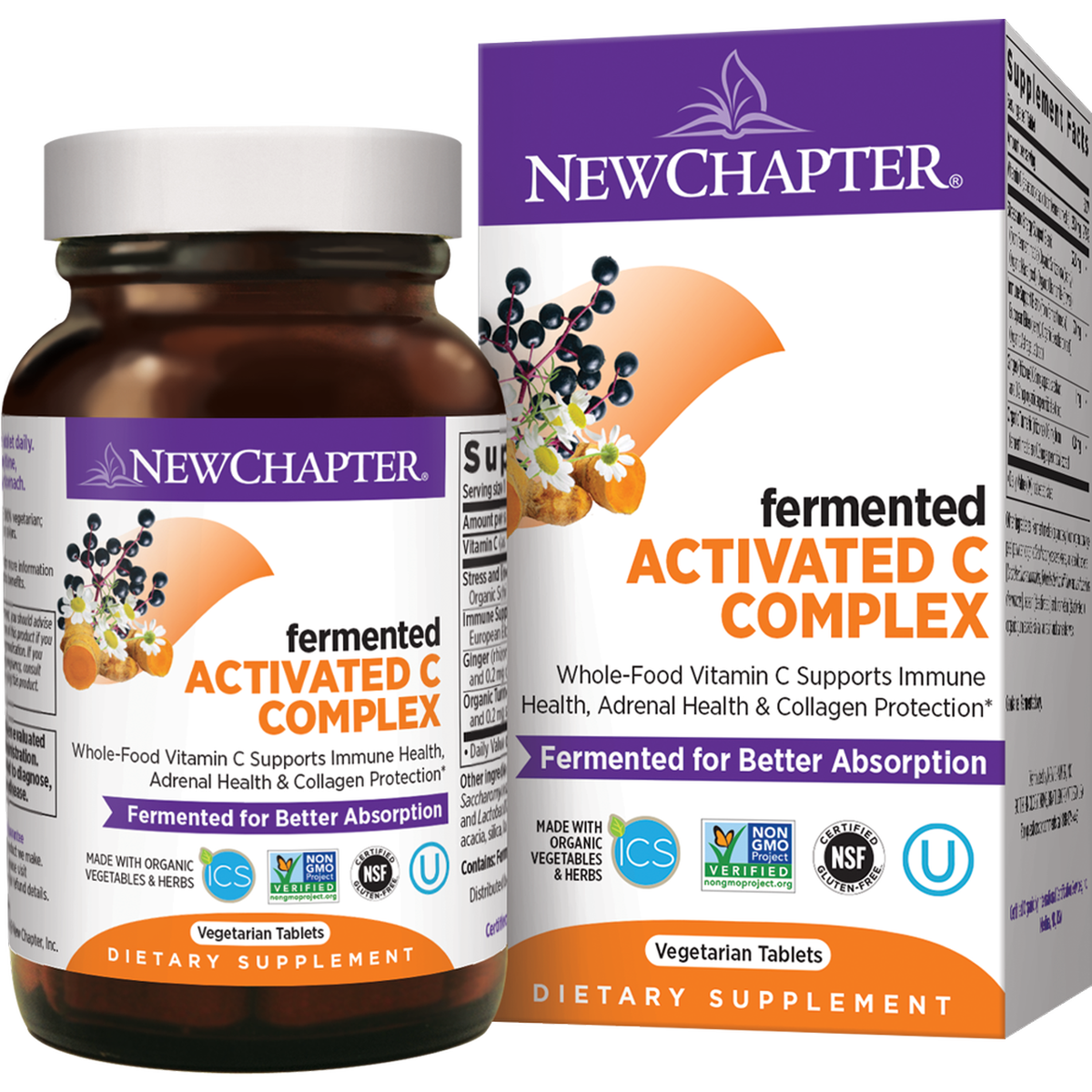 Ферментированный Витамин С, New Chapter Fermented Vitamin C, 30 таблеток