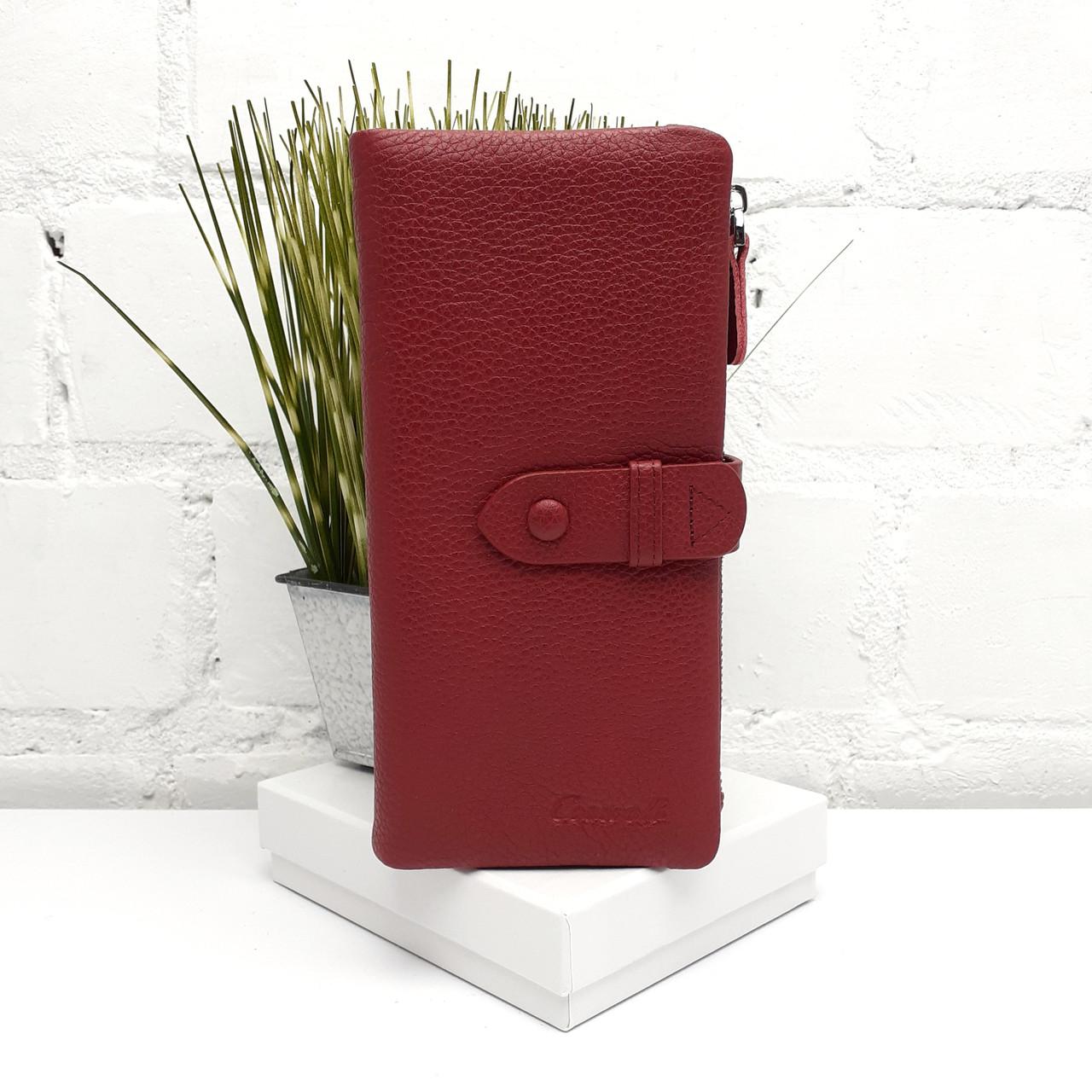 Місткий жіночий шкіряний гаманець бордовий Арт.A164E-1714-21 d.red Cossroll (Китай)