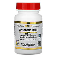Масло антарктического криля с астаксантином, California Gold Nutrition, 500 мг, 30 мягких таблеток, фото 1